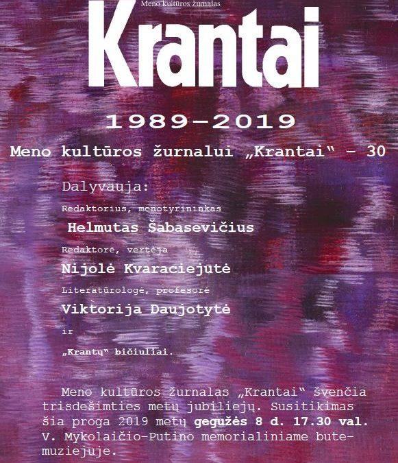 """2019.05.08 17:30 val. Meno kultūros žurnalui """"Krantai"""" – 30"""