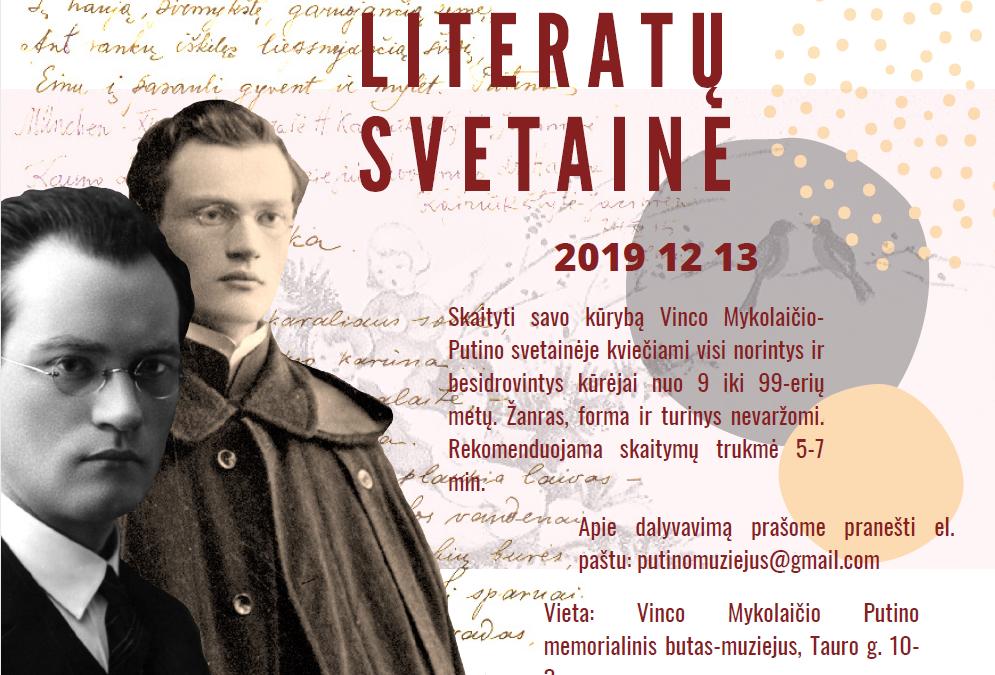 """2019.12.13 ,,Literatų svetainė"""" kviečia visus kuriančius!"""