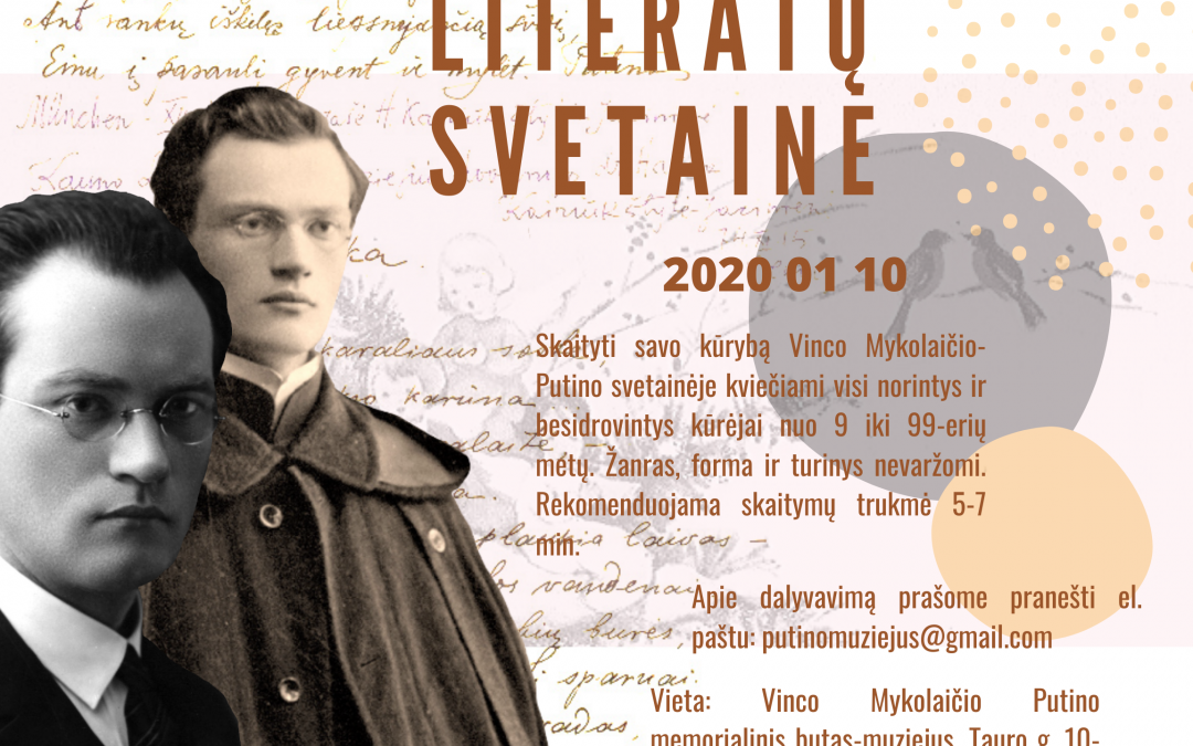 """2020.01.10 ,,Literatų svetainė"""" kviečia visus kuriančius!"""