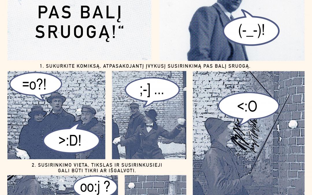 """2020.04.15-05.15 Komiksų konkursas """"Susirinkime pas Balį Sruogą!"""""""